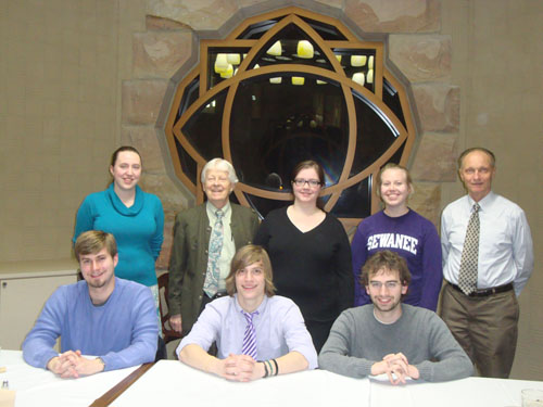 Dr. Davidheiser and Dr. Zachau with students at the German dinner on Feb. 7, 2013