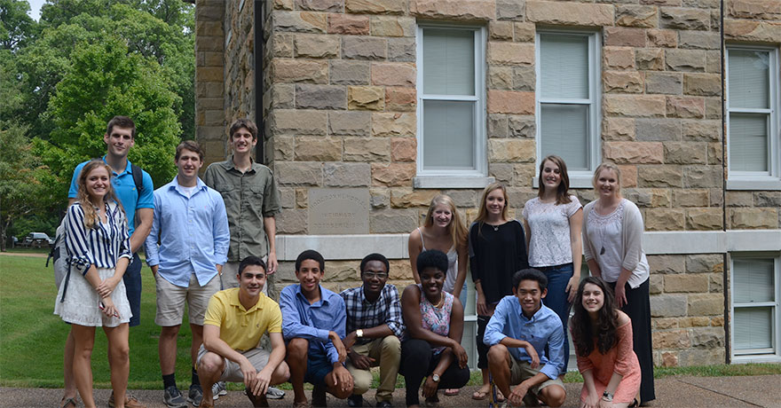 "FYP is a first year program for incoming Sewanee students.  In 2014 the FYP section ""When Medicine Takes Place""  learned about the history of medicine on the Mountain and are posing for a group photo in front of what is now a student dormitory."
