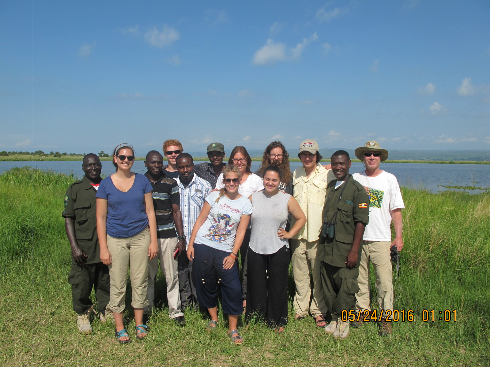 Gender and Human Rights field study class (June 2016) with Forestry Professor Ken Smith, and park rangers on Safari at Murchison Falls National Park