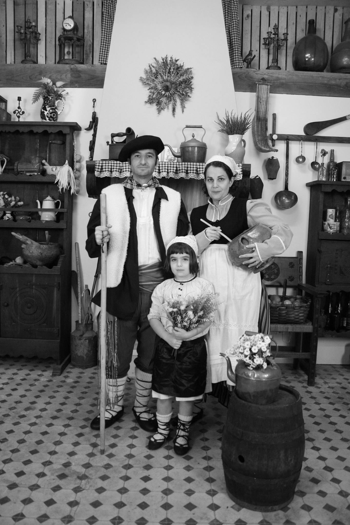 Dr. Colbert poses ironically with his family in Basque attire