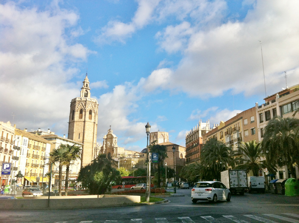 A street level view of The Cathedral of Valencia with the Miguelete Tower.