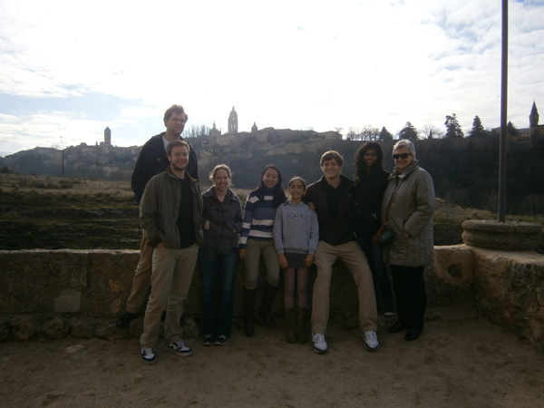 Photo of students with a view of the city in the background