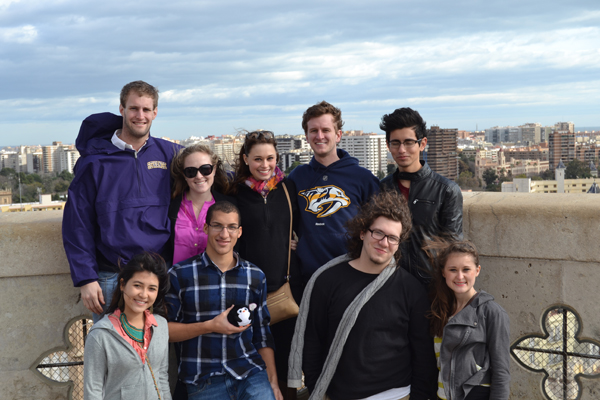 Students with Cid and his family when high above the city