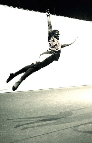 Dance performer soaring