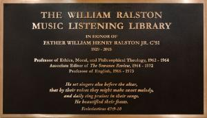 The William Ralston Listening Library plaque