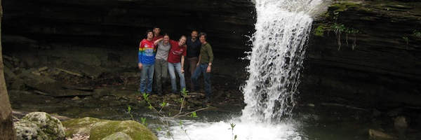 Students near waterfall