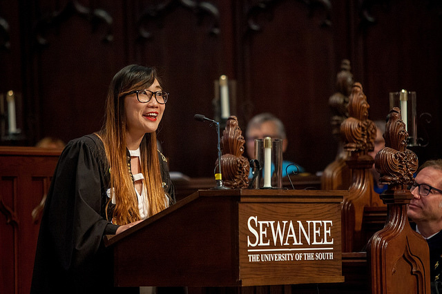 Tran Bao Ly of Vietnam delivers valedictory address to the Class of 2017