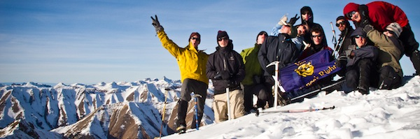 Students on snowy mountain