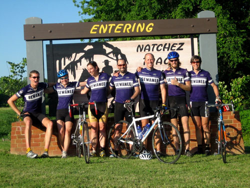 Sewanee Cycling Team at Natchez Trace sign