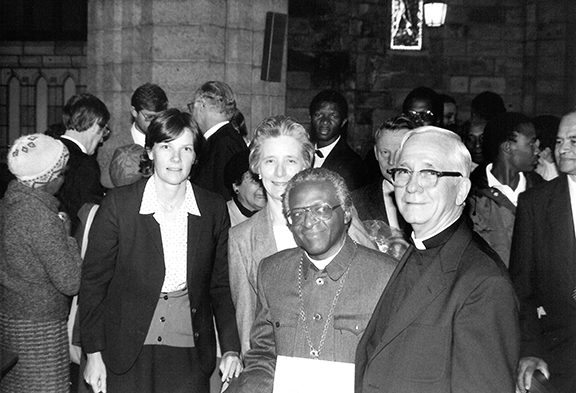 Nancy and Robert Parks with Desmond Tutu